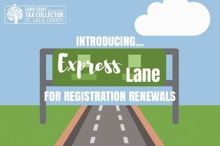 "Graphic with office logo and text: ""Introducing Express Lane for registration renewals"""